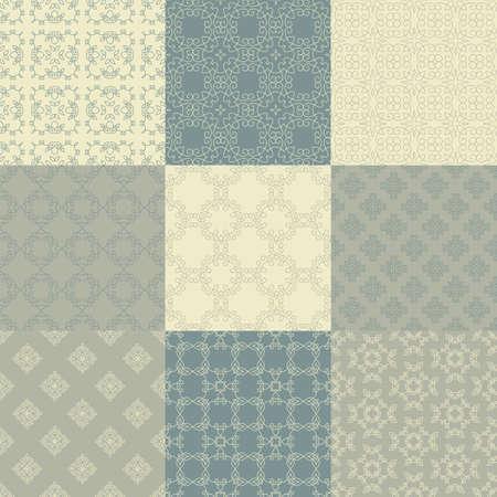 Raccolta di nove vettore motivi geometrici senza soluzione di continuità. texture vintage. Sfondo decorativo per le schede, gli inviti, il web design. Retro carta digitale. Archivio Fotografico - 42012701