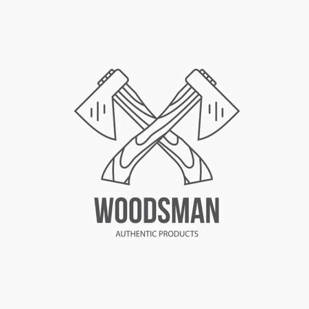 woodwork: Detailed graphic with axes made in vintage style. Vector design for logotype, label, badge, t-shirt or for other type of graphic. Woodwork vector illustration.