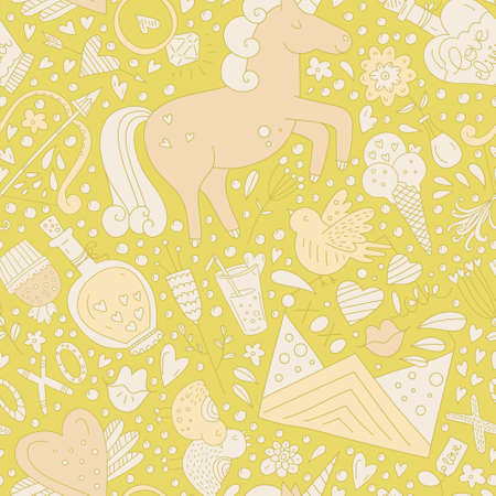Cute vector romantic seamless pattern with unicorns, hearts and love letters. Perfect wedding invitation background, Save the date card element or Valentines Day card design.  イラスト・ベクター素材