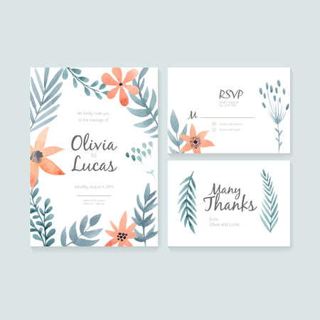 Unique gentle vector wedding cards template with watercolor. Wedding invitation or save the date, RSVP and thank you card for bridal design. Vector watercolor postcard collection with floral decoration. Illustration