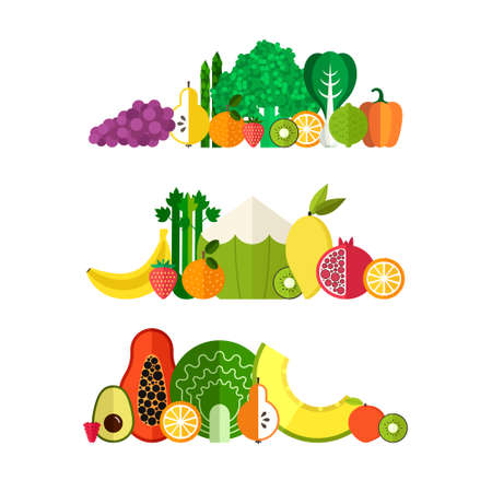 fruit: Vector collection of fresh healthy fruits and vegetables made in flat style - each one is isolated for easy use. Healthy lifestyle or diet design element.