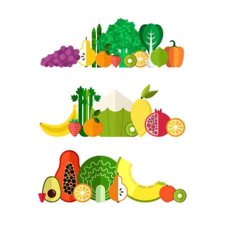 Vector raccolta di frutti sani e verdura fresca fatte in stile piatto - ognuno è isolato per un facile utilizzo. Stile di vita sano o la dieta elemento di design. Archivio Fotografico - 42012715