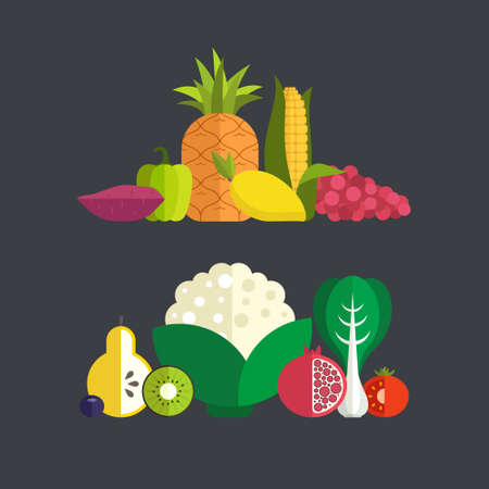 Big collection of fresh healthy fruits and vegetables made in flat style vector - each one is isolated for easy use. Healthy lifestyle or diet design element.