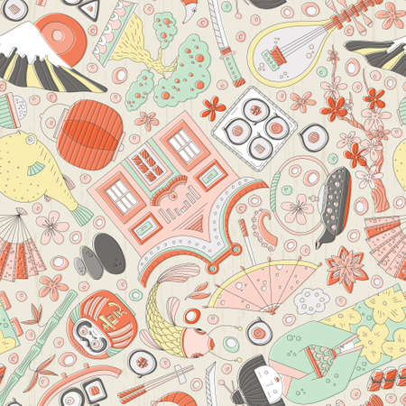 Vector seamless pattern with hand drawn japanese symbols, including geisha, sakura, bonsai, lantern. Cute unique doodle background for digital scrapbooking, wallpapers and fabric, travel website background. Travel to Japan concept.