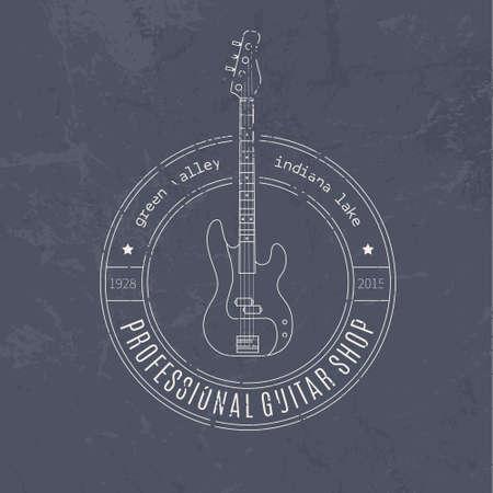 recording studio: Vintage logo met elektrische gitaar in hypster stijl. Muziekfestival of opnamestudio label. Vintage t-shirt design element.