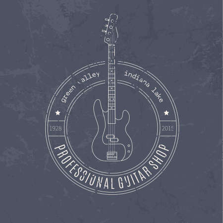 recording studio: Vintage logotype with electric guitar in hypster style. Music festival or recording studio label. Vintage t-shirt design element.