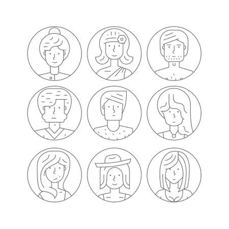 line vector: People icons illustration. Avatar collection with man and women portraits made in line style vector. Perfect people illustration for social media and app design.