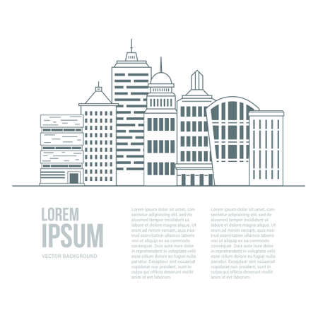 constructional: Line style urban graphic template made in vector. Modern buildings  with place for your text. Architectural or constructional flyer design. Office buildings concept.