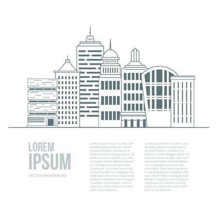 modern buildings: Style de ligne mod�le graphique urbaine fait en vecteur. Les b�timents modernes ayant un lieu pour votre texte. D�pliant conception architecturale ou de construction. B�timents Office de concept.