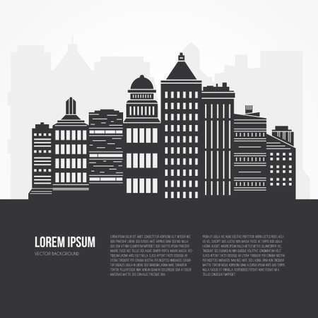 building industry: Black and white city scene with different office buildings made in vector. Skyscraper collection with place for your text. Flyer or banner template with modern line style town graphic.