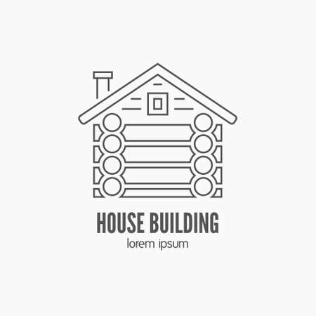 woodwork: Detailed graphic with log house made in vintage style. Vector design for logotype, label, badge, t-shirt or for other type of graphic. Woodwork vector illustration.
