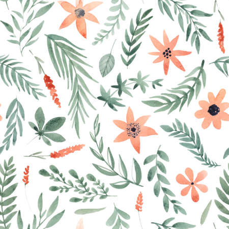 Floral watercolor seamless pattern. Beautiful vector hand drawn texture. Romantic background for web pages, wedding invitations, save the date cards. Watercolor vector.