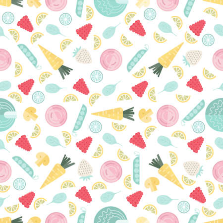 baby background: Vector background with baby food in gentle pastel colors. Great for restaurant menu backdrop, healthy food concept. Vegetarian colorful texture.