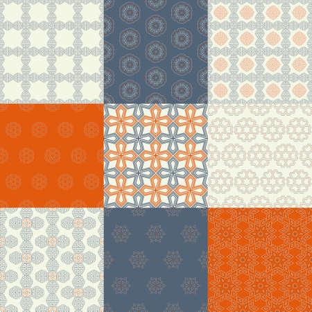 vintage paper: Set of nine vector seamless geometrical patterns. Vintage textures. Decorative background for cards, invitations, web design. Retro digital paper. Illustration