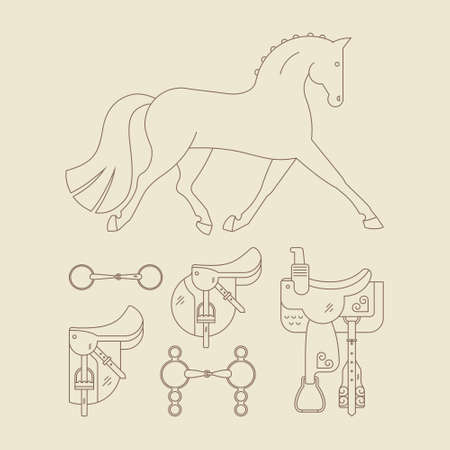 snaffle: Vector illustration of a horse troting and horse gear - saddles and bits. Linear style vector graphic. Equestrian design. Illustration