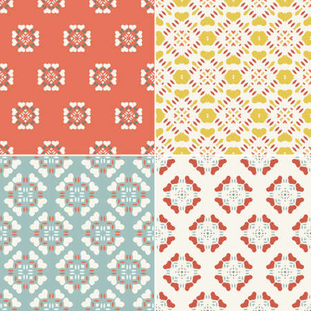 texture retro: Collection Vintage de quatre seamless patterns g�om�triques. Fond ornemental pour les cartes, les invitations, les pages Web. R�tro texture ou le papier num�rique. R�sum� carreau modernes.