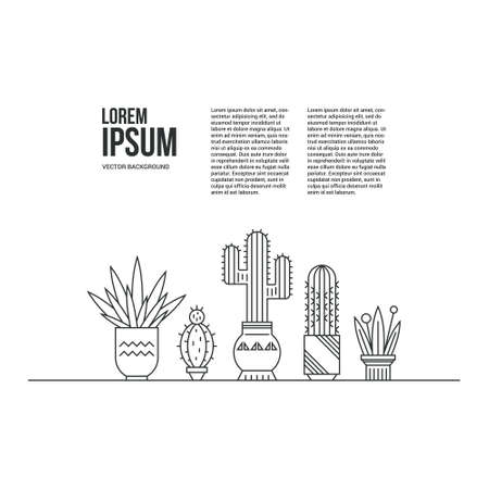 Graphical Template With Cactus And Succulents In Cute Pots. Linear ...