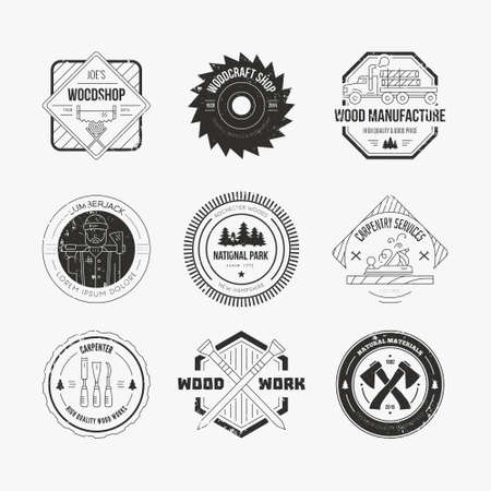 carpentry: Set of vintage carpentry. Wood work and manufacture label templates. Detailed emblems with timber industry elements and carpentry tools. Woodworking badges with sample text for your business. Illustration