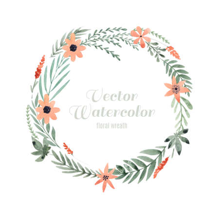 Hand painted watercolor wreath. Unique decoration for greeting card, wedding invitation, save the date. Isolated floral design. Summer flowers with space for your text. Ilustrace