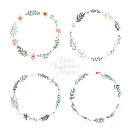 flower leaf: Hand paint frame of watercolor flowers , Summer design for invitation card, save the date. Bridal design element. Illustration