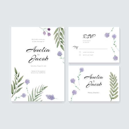 水彩画とユニークな穏やかな結婚式カード テンプレートです。結婚式の招待状やブライダル デザインの日付、RSVP とありがとうカードを保存します  イラスト・ベクター素材