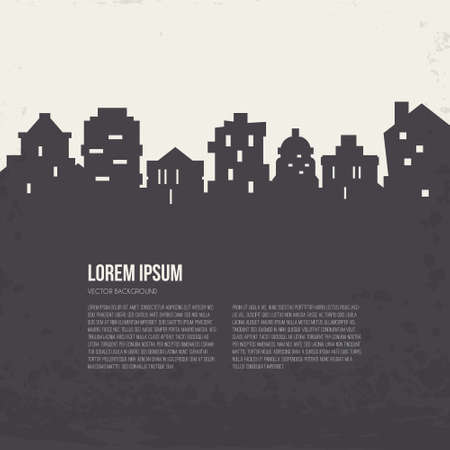 abstract illustration: City silhouette architectural illustration with place for your text. Line style design. Modern template with skyscrapers.
