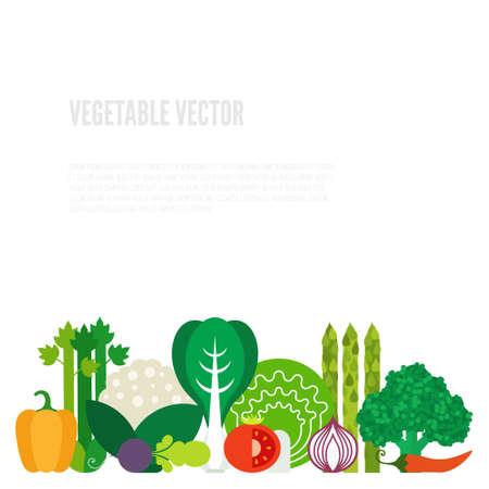 légumes verts: Légumes concept. Une alimentation saine de style plat illustration. La nourriture verte isolé, peut être utilisé dans le menu de restaurant, des livres de cuisine et les étiquettes biologiques de la ferme. Illustration