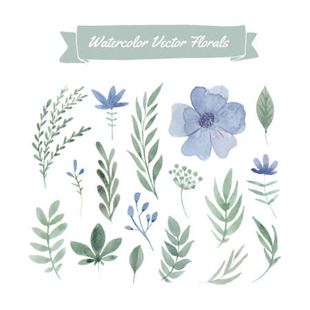 손으로 그린 수채화 꽃과 잎의 집합입니다. 여름 결혼식, 봄 축 하 카드 디자인 요소입니다. 날짜 카드를 저장하기위한 완벽한 꽃 요소입니다. 귀