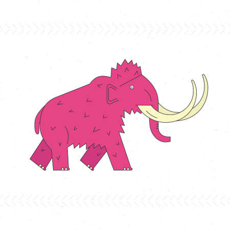 ice age: Mammoth design template. Linear illustration of prehistoric mammal. Ice age animal modern graphic. Illustration