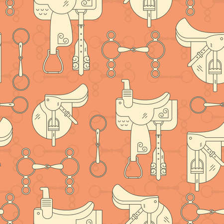 Vintage equine background with saddles and bits. Perfect equine seamless texture. Horse supplies.