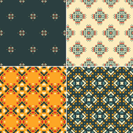 ornamental background: Elegant collection of four geometric seamless patterns. Ornamental background for cards, invitations, web pages. Retro texture or digital paper. Abstract modern tile.