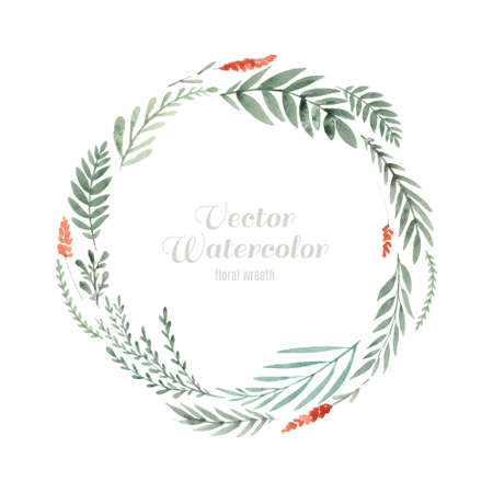 Hand painted watercolor wreath.  Vettoriali