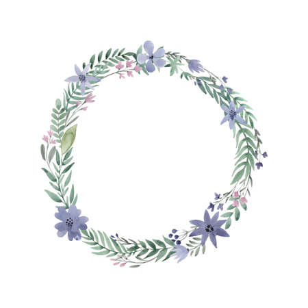 Hand painted watercolor wreath. Unique decoration for greeting card, wedding invitation, save the date. Isolated floral design. Summer flowers with space for your text. Ilustracja