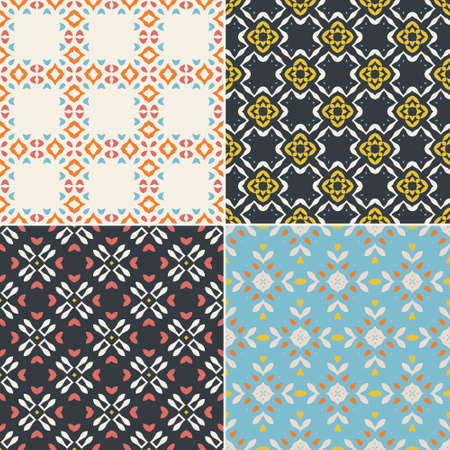 arab glamour: Elegant collection of four geometric seamless patterns. Ornamental background for cards, invitations, web pages. Retro texture or digital paper. Abstract modern tile.
