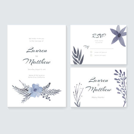 Unique gentle wedding cards template with watercolor.