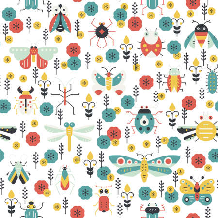 ladybug: Beautiful geometric pattern with bugs and insects. Illustration