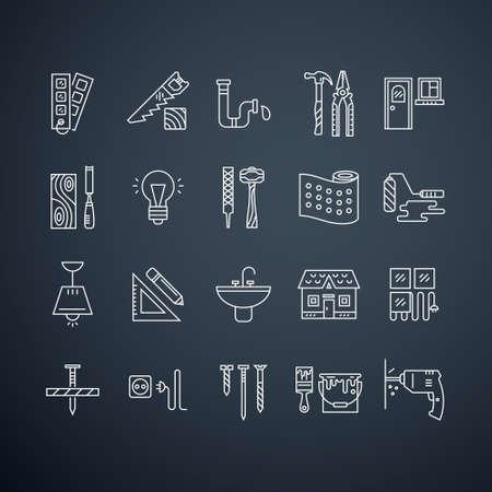 ca�er�as: Colecci�n de iconos de reparaci�n de casa vector, incluyendo el�ctrico, herramientas de plomer�a y otros equipos de remodelaci�n. Modernos etiquetas de estilo de l�nea. Construcci�n, conctruction dise�o gr�fico. Herramientas de reparaci�n para la web y aplicaciones.