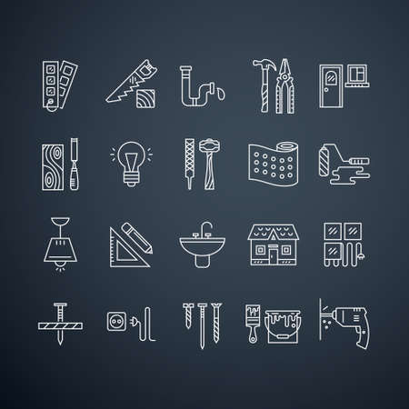 Collection of vector house repair icons, including electric, plumbing tools and other remodel gear. Modern line style labels. Building, conctruction graphic design. Repair tools for web and applications.