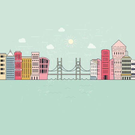 web design bridge: illustration of a city with office buildings, bridge and river.