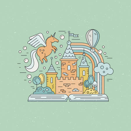 Fairytale illustration with open book and magic elements.