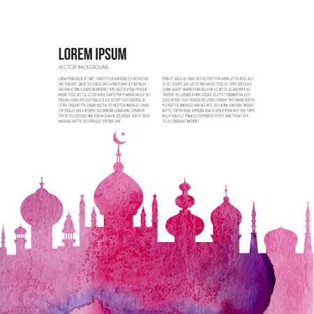 Beautiful mosque with watercolor texture and place for your text.  Illustration
