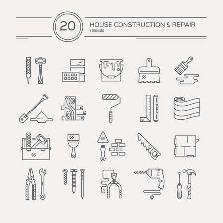 collection of house repair icons, including saw, hammer, screwdriver, drill and other tools.