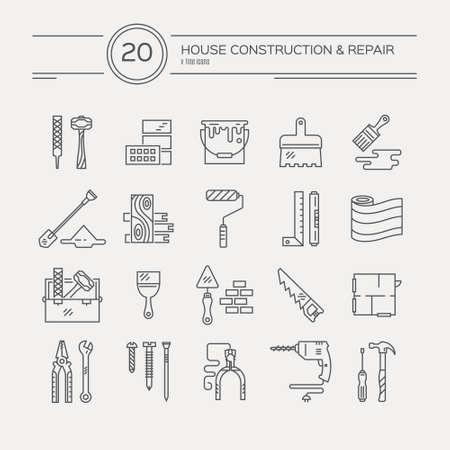 collectie van huis reparatie iconen, waaronder zaag, hamer, schroevendraaier, boor en andere instrumenten.