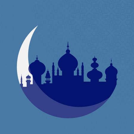 与清真寺的剪影背景