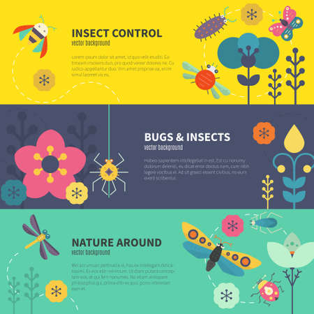 Colorful flyer collection with butterflies and other insects. Summer illustratuin. Place for your text.