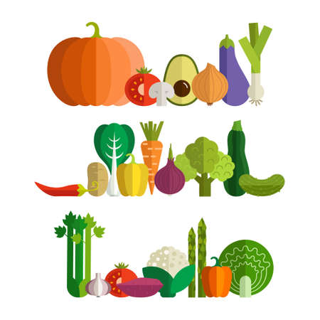 fresh vegetable: Set of fresh healthy vegetables made in flat style - each one is isolated for easy use.