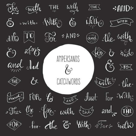 catchword: Big bundle of handdrawn catchwords and ampersands. Vector isolated design elements for save the date cards and wedding invitations. Handsketched set of design elements.