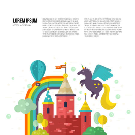 fairytale: Magic landscape with fairytale castle, unicorn, rainbow and trees. Creative thinking or imagination concept. Vector template with place for your text.