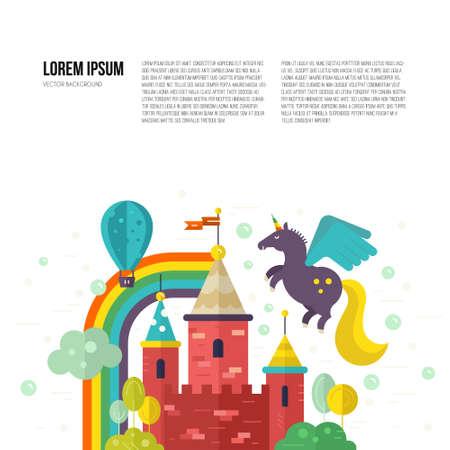 castello fiabesco: Paesaggio magico con fiabesco castello, unicorno, arcobaleno e alberi. Il pensiero creativo o concetto immaginazione. Modello di vettore con il posto per il testo.