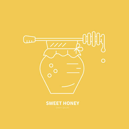 apiarist: Thin line icon of jar full of honey and dipper on the top. Logotype for honey factory or sweet production company made in vector,